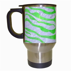 Skin2 White Marble & Green Watercolor (r) Travel Mugs (white)