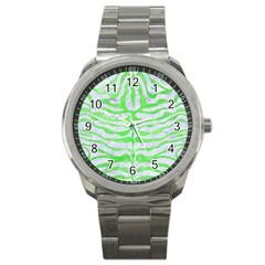 Skin2 White Marble & Green Watercolor (r) Sport Metal Watch