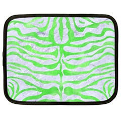 Skin2 White Marble & Green Watercolor (r) Netbook Case (large)
