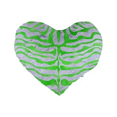 Skin2 White Marble & Green Watercolor (r) Standard 16  Premium Flano Heart Shape Cushions