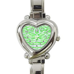 Skin2 White Marble & Green Watercolor Heart Italian Charm Watch