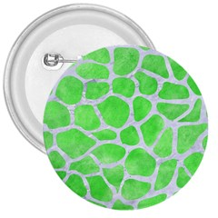 Skin1 White Marble & Green Watercolor (r) 3  Buttons
