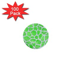 Skin1 White Marble & Green Watercolor (r) 1  Mini Buttons (100 Pack)