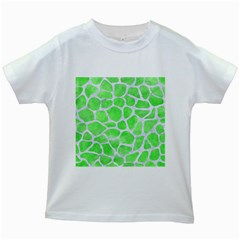 Skin1 White Marble & Green Watercolor (r) Kids White T Shirts