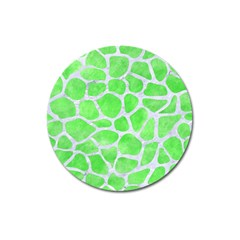 Skin1 White Marble & Green Watercolor (r) Magnet 3  (round) by trendistuff