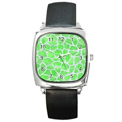 Skin1 White Marble & Green Watercolor (r) Square Metal Watch