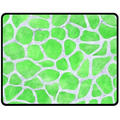 Skin1 White Marble & Green Watercolor (r) Fleece Blanket (medium)