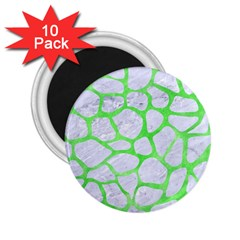 Skin1 White Marble & Green Watercolor 2 25  Magnets (10 Pack)