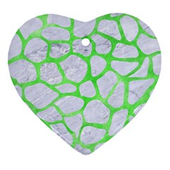 Skin1 White Marble & Green Watercolor Heart Ornament (two Sides)