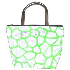 Skin1 White Marble & Green Watercolor Bucket Bags