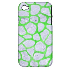 Skin1 White Marble & Green Watercolor Apple Iphone 4/4s Hardshell Case (pc+silicone)