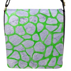 Skin1 White Marble & Green Watercolor Flap Messenger Bag (s)