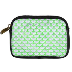 Scales3 White Marble & Green Watercolor (r) Digital Camera Cases