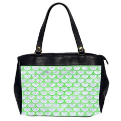 Scales3 White Marble & Green Watercolor (r) Office Handbags (2 Sides)
