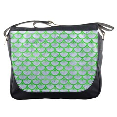 Scales3 White Marble & Green Watercolor (r) Messenger Bags