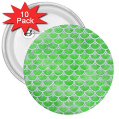 Scales3 White Marble & Green Watercolor 3  Buttons (10 Pack)