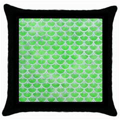 Scales3 White Marble & Green Watercolor Throw Pillow Case (black)