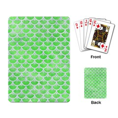 Scales3 White Marble & Green Watercolor Playing Card