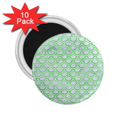 Scales2 White Marble & Green Watercolor (r) 2 25  Magnets (10 Pack)