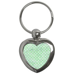 Scales2 White Marble & Green Watercolor (r) Key Chains (heart)