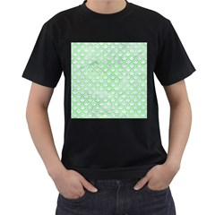 Scales2 White Marble & Green Watercolor (r) Men s T Shirt (black) (two Sided)