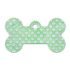 Scales2 White Marble & Green Watercolor (r) Dog Tag Bone (one Side)