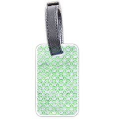 Scales2 White Marble & Green Watercolor (r) Luggage Tags (one Side)