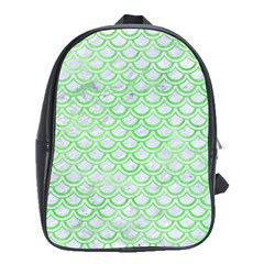 Scales2 White Marble & Green Watercolor (r) School Bag (xl)