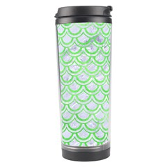 Scales2 White Marble & Green Watercolor (r) Travel Tumbler