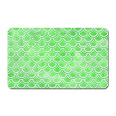 Scales2 White Marble & Green Watercolor Magnet (rectangular)