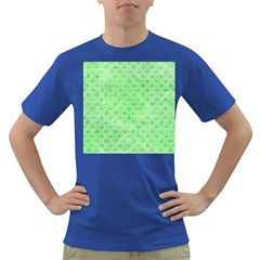 Scales2 White Marble & Green Watercolor Dark T Shirt