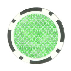 Scales2 White Marble & Green Watercolor Poker Chip Card Guard