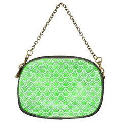 Scales2 White Marble & Green Watercolor Chain Purses (one Side)