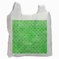 Scales2 White Marble & Green Watercolor Recycle Bag (one Side)