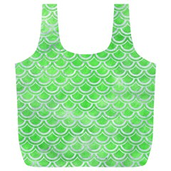 Scales2 White Marble & Green Watercolor Full Print Recycle Bags (l)