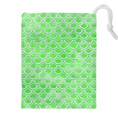 Scales2 White Marble & Green Watercolor Drawstring Pouches (xxl)