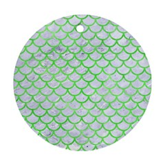 Scales1 White Marble & Green Watercolor (r) Ornament (round)