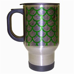 Scales1 White Marble & Green Watercolor (r) Travel Mug (silver Gray)