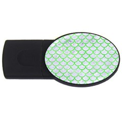 Scales1 White Marble & Green Watercolor (r) Usb Flash Drive Oval (4 Gb)