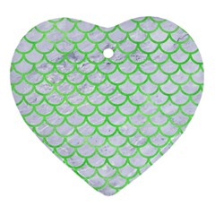 Scales1 White Marble & Green Watercolor (r) Heart Ornament (two Sides)