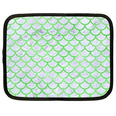 Scales1 White Marble & Green Watercolor (r) Netbook Case (large)