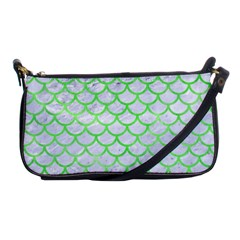 Scales1 White Marble & Green Watercolor (r) Shoulder Clutch Bags