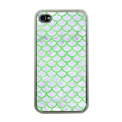 Scales1 White Marble & Green Watercolor (r) Apple Iphone 4 Case (clear)