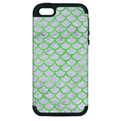 Scales1 White Marble & Green Watercolor (r) Apple Iphone 5 Hardshell Case (pc+silicone)