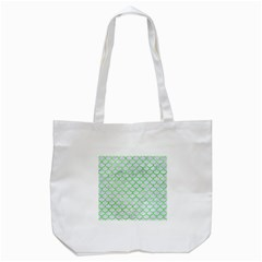 Scales1 White Marble & Green Watercolor (r) Tote Bag (white)