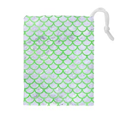 Scales1 White Marble & Green Watercolor (r) Drawstring Pouches (extra Large)