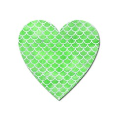 Scales1 White Marble & Green Watercolor Heart Magnet