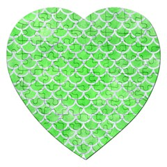 Scales1 White Marble & Green Watercolor Jigsaw Puzzle (heart)