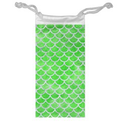 Scales1 White Marble & Green Watercolor Jewelry Bags