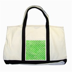 Scales1 White Marble & Green Watercolor Two Tone Tote Bag